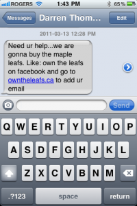 You can own a piece of the Maple Leafs at www.owntheleafs.ca