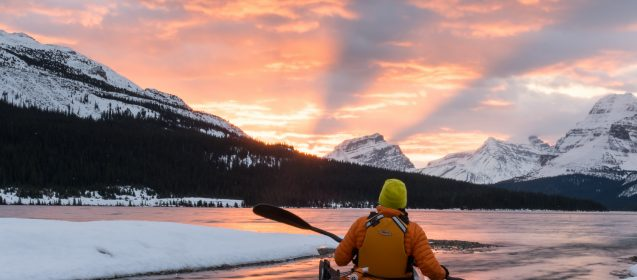 Jon was an amazing still model for this sunrise long exposure in Banff National Park.